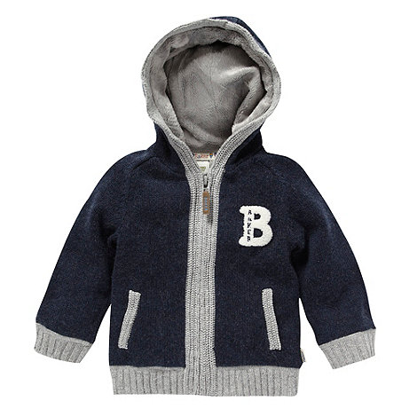 Baker by Ted Baker - Babies navy knitted fleece hooded jacket