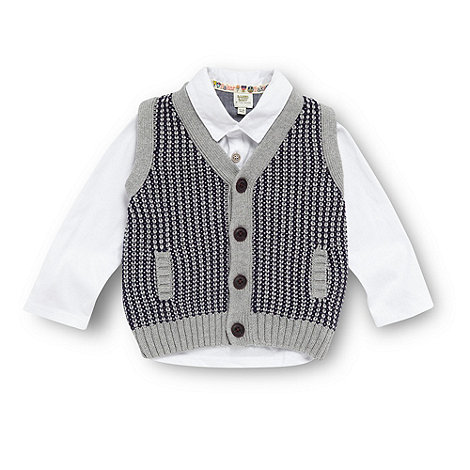 Baker by Ted Baker - Babies navy knitted waistcoat and polo top set