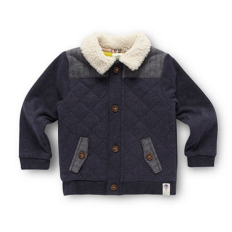 Baker by Ted Baker - Babies navy herringbone panelled sweat jacket