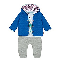 Baker by Ted Baker - Baby boys' blue raccoon print t-shirt, jacket and jogging bottoms set