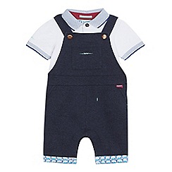 Baker by Ted Baker - Baby boys' dark blue dungarees and polo shirt set
