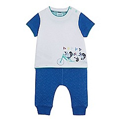 Baker by Ted Baker - Baby boys' blue racoon print t-shirt and jogging bottoms set