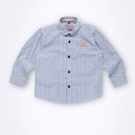 Baker by Ted Baker - Boy+s blue striped spotted shirt
