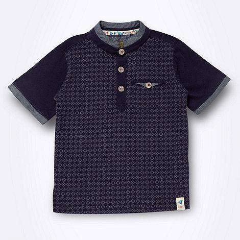 Baker by Ted Baker - Boy+s navy tiled polo shirt