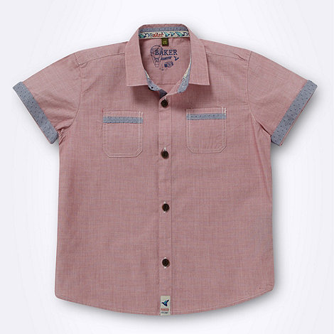 Baker by Ted Baker - Boy+s red chambray trimmed shirt