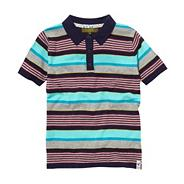 Boy's multi knitted stripe polo top