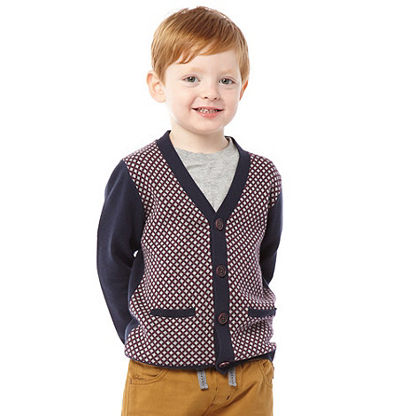 Baker by Ted Baker - Boy+s navy geo cardigan and t-shirt set