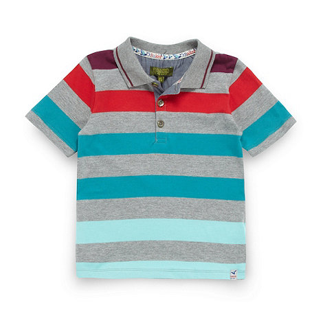 Baker by Ted Baker - Boy+s grey bold striped polo shirt