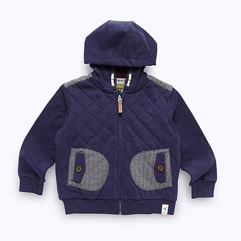 Baker by Ted Baker - Boy+s navy quilted sweat jacket