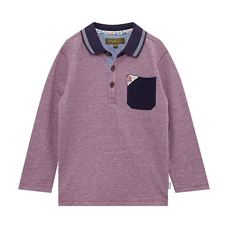 Baker by Ted Baker - Boy+s purple long sleeved pique polo top