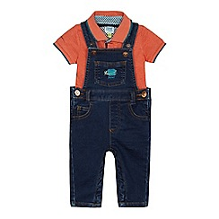 Baker by Ted Baker - Baby boys' blue denim dungarees and orange polo shirt set
