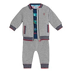 Baker by Ted Baker - Baby boys' navy logo applique t-shirt, grey bomber jacket and jogging bottoms set