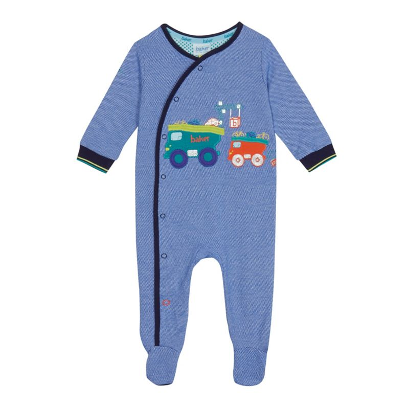 Baker by Ted Baker Baby boys blue vehicle applique sleepsuit