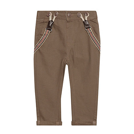 Baker by Ted Baker - Boy+s brown ottoman chinos with braces