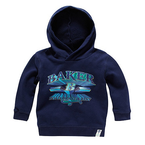 Baker by Ted Baker - Boy+s navy logo printed hoodie