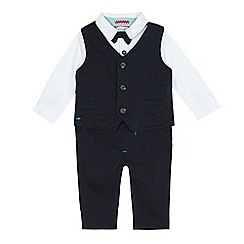 Baker by Ted Baker - Baby boys' navy dogtooth waistcoat, romper suit and trousers set