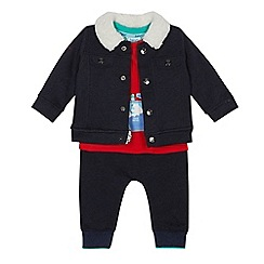Baker by Ted Baker - Baby boys' navy herringbone textured jacket, jogging bottoms and red t-shirt set