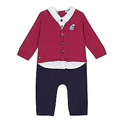 Baker by Ted Baker - Baby boys' mock cardigan shirt and trousers romper suit