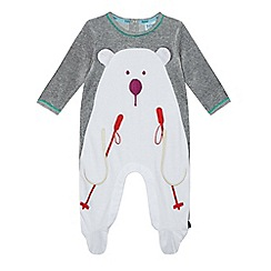 Baker by Ted Baker - Baby boys' grey skiing polar bear sleepsuit