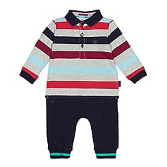 Baker by Ted Baker - Baby boys' multi-coloured striped polo shirt and jogging bottoms set