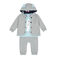 Baker by Ted Baker - Baby boys' grey polar bear t-shirt, sweater and jogging bottoms set