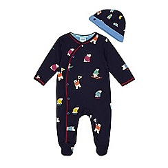 Baker by Ted Baker - Baby boys' navy polar bear print sleepsuit and hat set