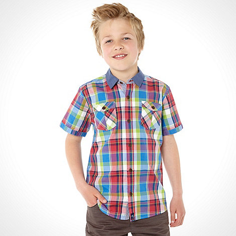 Baker by Ted Baker - Boy+s multi short sleeved checked shirt