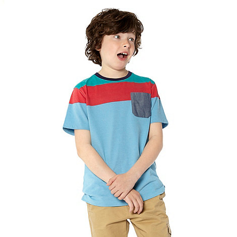 Baker by Ted Baker - Boy+s blue colour block striped t-shirt