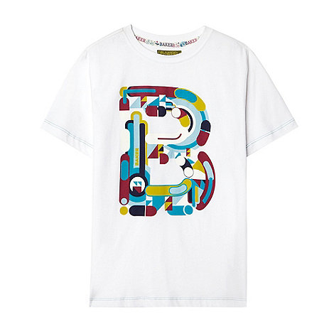 Baker by Ted Baker - Boy+s white abstract printed t-shirt
