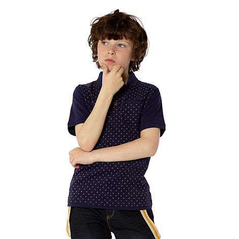Baker by Ted Baker - Boy+s navy geometric printed polo top