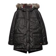 Boy's black faux fur hooded parka