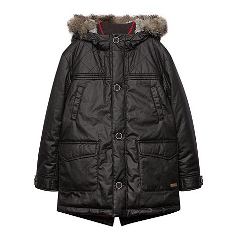 Baker by Ted Baker - Boy+s black faux fur hooded parka