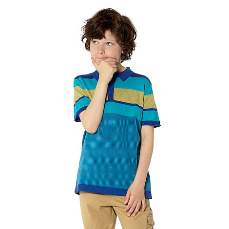 Baker by Ted Baker - Boy+s blue knitted stripe polo top