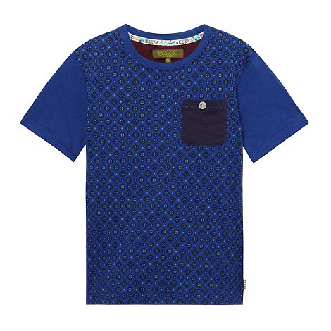Baker by Ted Baker - Boy+s blue geo short sleeve t-shirt