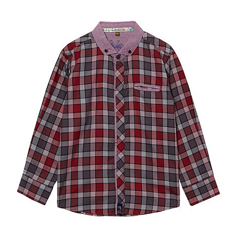 Baker by Ted Baker - Boy+s red herringbone check shirt