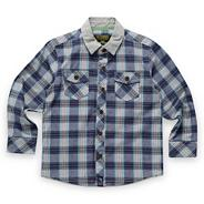 Babies blue chambray checked shirt