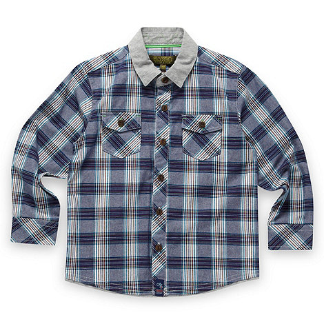 Baker by Ted Baker - Babies blue chambray checked shirt