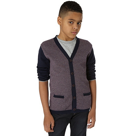 Baker by Ted Baker - Boy+s navy knitted cardigan and t-shirt set