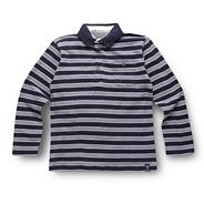 Boy's navy striped pique polo shirt