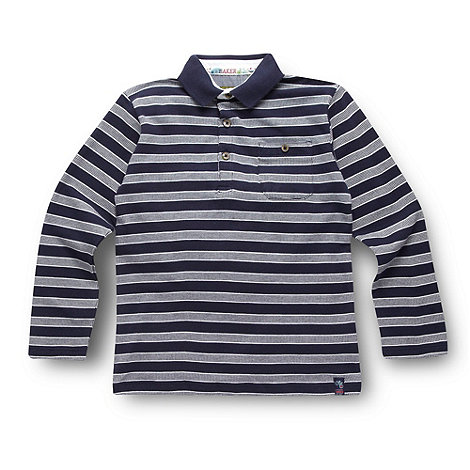 Baker by Ted Baker - Boy+s navy striped pique polo shirt