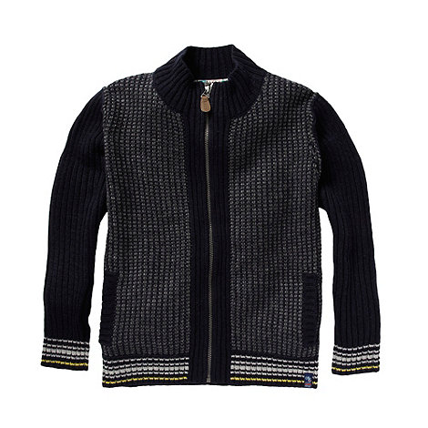 Baker by Ted Baker - Boy+s black zip through knitted cardigan