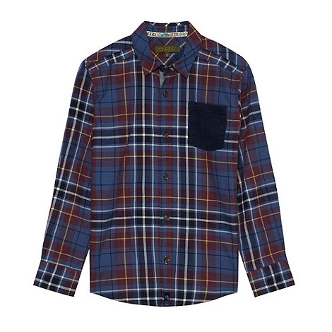 Baker by Ted Baker - Boy+s navy brushed checked shirt