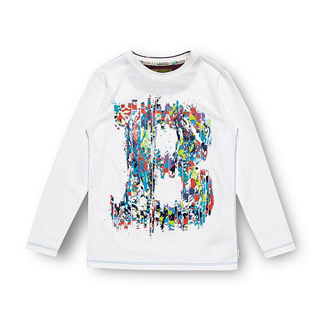 Baker by Ted Baker - Boy+s white paint logo print top