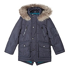 Baker by Ted Baker - Boys' navy feather and down shower resistant parka coat