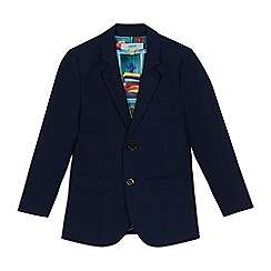 Baker by Ted Baker - Boys' navy stain resistant checked textured jacket