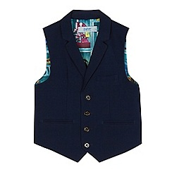 Baker by Ted Baker - Boys' navy stain resistant textured checked waistcoat