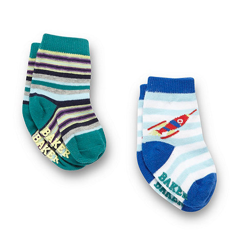 Baker by Ted Baker - Boy's pack of two striped socks