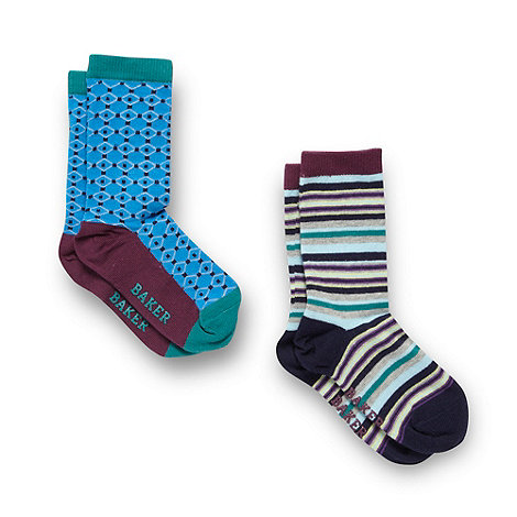 Baker by Ted Baker - Boy+s pack of two patterned socks