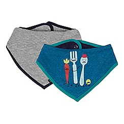 Baker by Ted Baker - Pack of two baby boys' blue and grey printed and quilted bibs