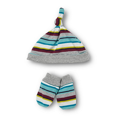 Baker by Ted Baker - Babies grey striped hat and mittens set